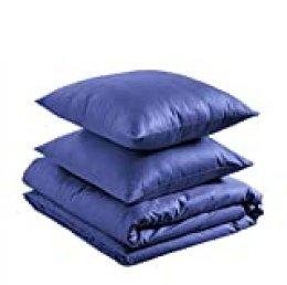 AmazonBasics - Juego de funda nórdica 100% algodón supersuave - 240 x 220 cm / 80 x 80 cm, Azul marino