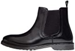 find. Leather Cleated Botas Chelsea, Negro Black Polido, 44 EU