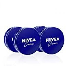 NIVEA Creme en pack de 4 (4 x 75 ml), crema hidratante de manos, cara y cuerpo para toda la familia, crema universal para una piel suave e hidratada, crema multiusos