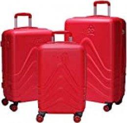 Luggo - Juego de Maletas Capullo (Rojo) 8 Ruedas Giratorias - Cerradura TSA - 20% Más Livianas