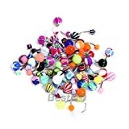 50 Piercing de ombligo Bolas de Acrílico Barbell Bars Rings