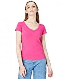 Activewear V Neck Camiseta para Mujer, Rosa (Fuchsia), 38 (Talla del Fabricante: Small)