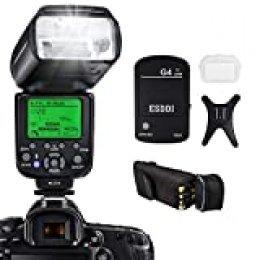 Flash de cámara ESDDI para cámaras Canon SLR, E-TTL 1/8000 HSS GN58, Flash de cámara inalámbrico multifunción, Disparador de Flash inalámbrico 2.4G, Soporte de Base de Zapata fría