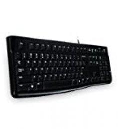 Logitech K120 Teclado con Cable Business para Windows, Tamaño Normal, Resistante a Líquido, Barra Espaciadora Curvada, PC/Portátil, Disposición Rusa, Color Negro