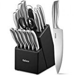 Yabano Cuchillos Cocina, 16 Piezas SetCuchillosCocina, Juego de Cuchillos Profesional Hecho de Acero Alemán X50Cr15, Súper Afilado, Diseño ergonómico