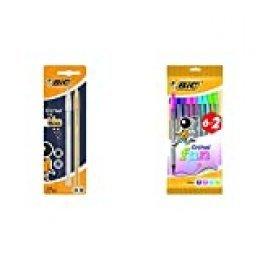 BIC Cristal Shine bolígrafos punta media (1,0 mm) Cuerpo y colores Surtidos, Blíster de 2 unidades + Cristal Fun bolígrafos Punta Ancha (1,6 mm) – colores Surtidos, Blíster de 6+2