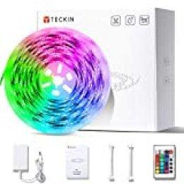 Tiras LED 5M,TECKIN Impermeable decoracion de luces con Control Remoto, 4 Modos de Brillo y 16 Colores RGB 150 LED multicolor 5050 iluminación para casa, fiestas, bares.eficiencia energética.