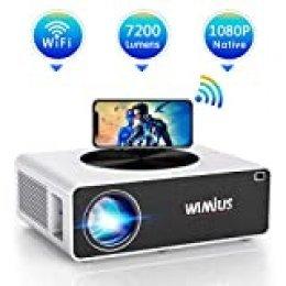 Proyector WiFi 1080P, WiMiUS 7200 Lúmenes Proyector WiFi Full HD 1920×1080P Soporta 4K Audio Dolby Proyector Cine En Casa LED 100,000 Horas para Teléfonos,iPad,Fire TV Stick,PS4,PC HDMI USB VGA AV