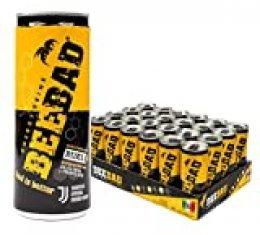 BEEBAD Energy Drink, 250 ml (Pack de 24 Latas) Bebida energética endulzada únicamente con miel. Hecha con productos naturales (Jalea Real, Propóleos, Ginseng, Maca)