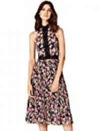 Marca Amazon - TRUTH & FABLE Vestido de Flores con Encaje Mujer, Multicolor (Multicoloured), 34, Label: XXS