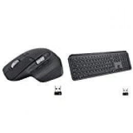 Logitech MX Master 3 Ratón inalámbrico Moderno Desplazamiento ápido, ergonómico, 4.000 dpi, Personalización, USB-C, Bluetooth, Grafito + Teclado, Iluminado, Grafito MX Master 3 + MX Keys