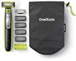 Philips QP2630/30 OneBlade Cara + Cuerpo - Recortador de Barba Recargable con Peine-guía para el Cuerpo, 4 Peines-guía para Barba de 1,2,3 y 5 mm, Uso en Seco y Húmedo