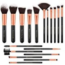 Brochas de Maquillaje, 18 Piezas de Conjuntos de Pinceles de Maquillaje Dorado Rosa, Fibras Sintéticas para Foundation Face Powder Blush Blending Lip Sombra de ojos Eyeliner Make Up Kits de Pinceles