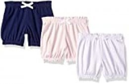Amazon Essentials - Pack de 3 pantalones bombacho para niña, Pink/Grey Solid, US NB (EU 56-62)