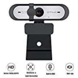 OTHA PC Webcam con Micrófono de Enfoque Automático, Cámara Web HD 1080p 60fps,USB Webcam con ángulo de rotación, Cámara Web Plegable para Computadora