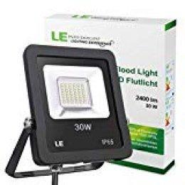 LE Foco LED de 30 W, 2400 Lúmenes, IP65 resistente al agua, Blanco Frío 5000 K, Floodlight Exteriores Interiores, Foco Proyector LED Ideal para Jardín, Garaje, Hotel, Patio, etc.