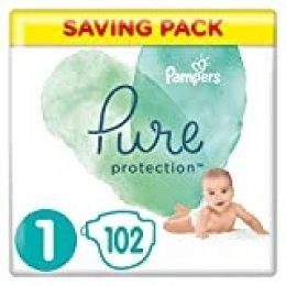 Pampers Pure Protection 81685798 pañal desechable Niño/niña 1 102 pieza(s) - Pañales desechables (Niño/niña, Tape diaper, 2 kg, 5 kg, Multicolor, Algodón)