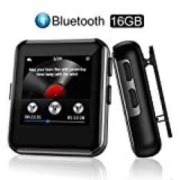 """Arbily Reproductor MP3 Bluetooth Portátil 16 GB con 1.5"""" Pantalla Táctil E-Book Imágenes Video Grabadora Radio FM, con Auriculares y Clip Trasero Incluidos MP3 Running para Deporte y Musica"""