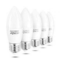 Aigostar - Bombilla LED A5 C37, E27, 7 W equivalente a 56 W, 6400K, 560 lúmenes, no regulable -Pack de 5