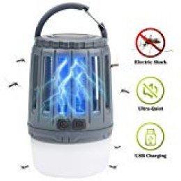 IREGRO Lampara Anti Mosquitos Bug Zapper 2 en 1 Lámpara portátil Mosquito Killer Linterna LED Camping con 3 Modos de iluminación para Excursionismo, Campamento, Senderismo, Pesca, Emergencia (Gris