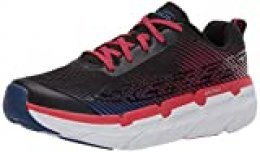 Skechers MAX Cushioning Premier, Zapatillas para Hombre, Negro (Black Textile/Red Synthetic/Blue Trim Bkwr), 39.5 EU