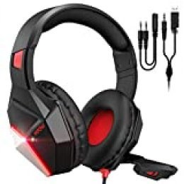 Mpow EG10 Auriculares para Juegos con Sonido Envolvente 3D, Auriculares para PC PS4 con micrófono de Cristal, Controladores de 50 mm, Control de Volumen y silenciamiento Juegos universales