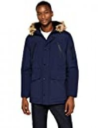 Marca Amazon - find. Parka - Chaqueta Hombre, Azul (Navy), S, Label: S