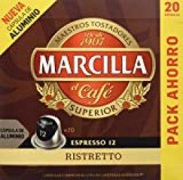 MARCILLA Café Espresso Ristretto Intensidad 12 - 20 Cápsulas de aluminio compatibles con cafeteras Nespresso*