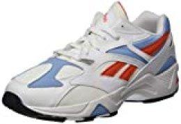 Reebok Aztrek 96, Zapatillas de Deporte Unisex-Adulto, White/Vivid Orange/Fluid Blue, 42 EU