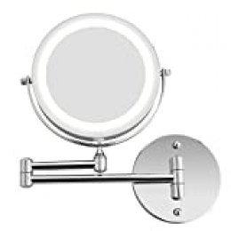 BATHWA Espejo de Pared para Cuarto de baño, Espejo de Maquillaje con LED Espejo de Plegado cosmética, Espejo de Maquillaje de Doble Cara Plegable extraíble, Lupa 7X y Espejo Ordinario