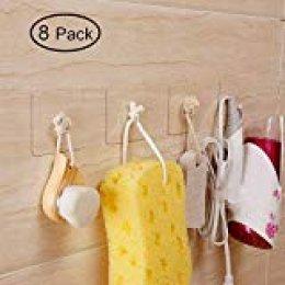 Hawsam 8 Piezas Gancho Adhesivo Firme, pared Gancho pegajoso transparente de Plástico para Colgador de Cocina Baño Puerta Techo