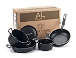 Pentole Agnelli Batería de Cocina, Aluminio, Negro, 2 Personas, 5 Unidades