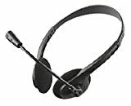 Trust Primo - Auriculares estéreo con micrófono Flexible, Color Negro
