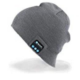 Unisex Bluetooth Gorra, Bluetooth Beanie Música Sombrero con audífono inalámbrico, Gorra de Punto Invierno Compatible con música y Llamadas, Recargable, Tiempo de Espera hasta 60 Horas(Gris Claro)