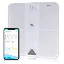 SENSSUN Báscula de grasa corporal Báscula digital inteligente Bluetooth Báscula de análisis corporal Báscula inteligente Pantalla LED Vidrio templado recubierto de ITO Área de pesaje 30*30cm(Blanco)