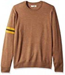 Marca Amazon - Goodthreads: suéter de cuello redondo con mangas de merino a rayas para hombre, Camel Yellow Stripe, US M (EU M)