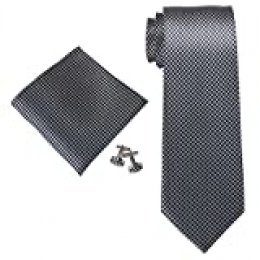 Landisun Seda Varios sólidos para hombre corbata de seda Set: corbata + Pañuelo + Gemelos