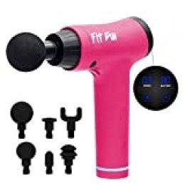 Woxter Fit Gun 2 Pink Pistola de Masaje Muscular Massage Gun con Batería de Litio y 6 Cabezales Intercambiables, Masajeador de Mano para deportistas, Estimulación Muscular, Alivio del Dolor Muscular