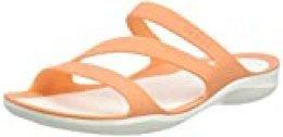 Crocs Swiftwater Sandal Women, Sandalias de Punta Descubierta para Mujer, Naranja (Grapefruit/White 82q), 34/35 EU