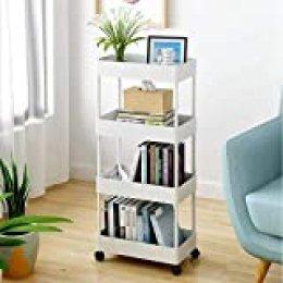 Bigzzia Carrito de almacenamiento, carrito de cocina para baño, estantería móvil delgada de 4 niveles con ruedas móviles multifunción, organizador con cesta de malla para oficina, biblioteca, lugares estrechos, blanco