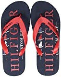 Tommy Hilfiger Nautical Print Beach Sandal, Sandalias con Punta Abierta para Hombre, Rojo (Primary Red XLG), 44 EU