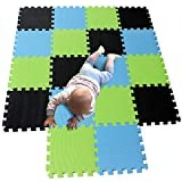 MQIAOHAM juego de enclavamiento juego de bebé tapetes para niños tapetes para niños foammats playmats estera del rompecabezas bebé niños tapete tapete tapete negro Azul Frutaverde 104107115