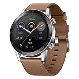 """HONOR Smartwatch Magic Watch 2 46mm (hasta 2 Semanas de Batería, Pantalla Táctil AMOLED de 1.39"""", GPS, 15 Modos Deportivos, Llamadas Bluetooth) para Hombre Mujer, Lino Marrónn"""