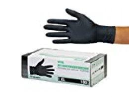 Guantes de nitrilo transparente Guantes libres de látex sin polvo Limpieza Guantes sanitarios para la cocina Cocina Limpieza Limpieza Seguridad Manejo de alimentos, 100 pcs caja (XL, Negro)