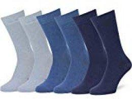 Easton Marlowe 6 PR Calcetines Lisos Negros Hombre, Algodón Peinado - 6pk #3-4, Azul Claro/Denim/Indigo mezcla - 43-46 talla de calzado UE