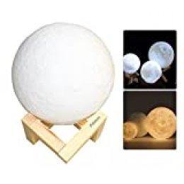 Aibecy Lámpara de luna de 8 cm/3,15 pulgadas USB recargable LED Impreso en 3D PLA Luz nocturna Luces decorativas para el hogar Control táctil Brillo Continua Regulable Amarillo cálido y blanco frío