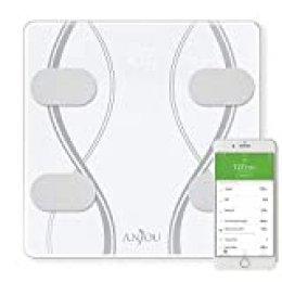 Anjou Báscula de Baño Digital Bluetooth con Análisis Grasa Corporal por App de 12 datos (Peso, Grasa, Agua, Músculo y más), 20 Usuarios, Báscula Inteligente de Alta Precisión para iOS y Android