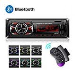 Hoidokly Autoradio Bluetooth, 4×60W Manos Libres Radio Estéreo de Coche, Apoyo de Reproductor MP3, Llamadas Manos Libres, Función de Radio y de Archivo
