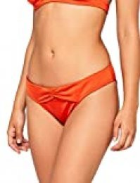Marca Amazon - IRIS & LILLY Braguita de Bikini Fruncida por la Cadera para Mujer, Rojo (Chile), M, Label: M
