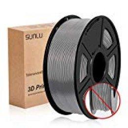 SUNLU PLA Filamento Impresora 3D, PLA plus Filamento 1.75mm, 3D Filamento PLA+, 1KG Gris